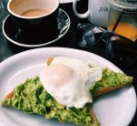 Joan's: Mashed Avocado Toast topped with two perfectly poached eggs