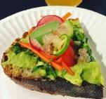 Superba: Lemony Avocado Toast topped with jalepeño, radish, and carrots