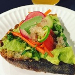 Superba: Lemony Avocado Toast topped with jalepeño, radish, and carrots