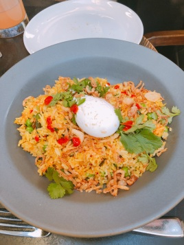 Spicy Fried Rice, Peas, Crispy Shallots, Thai Basil, Organic Poached Egg $19